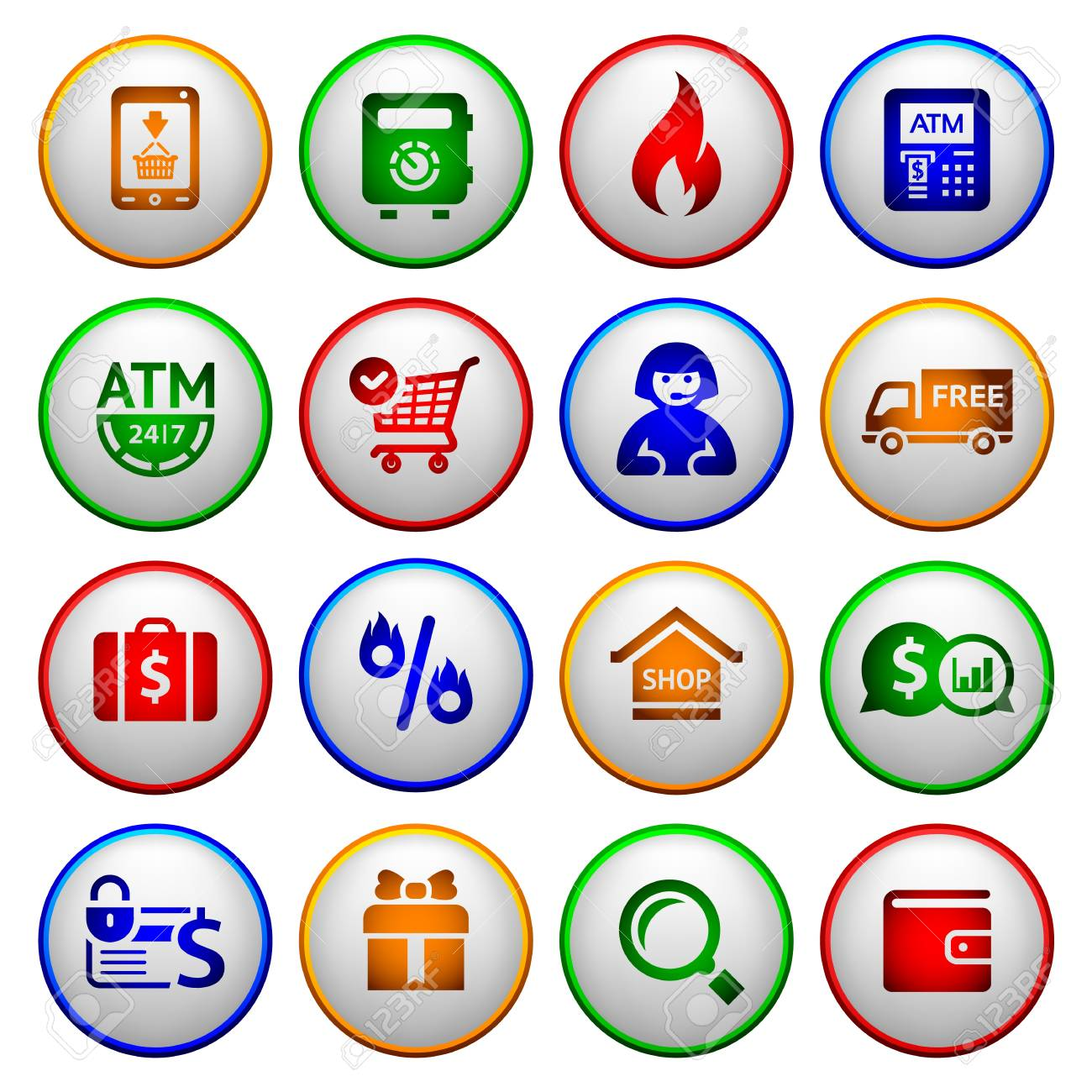 Shopping Icons  Colorful round buttons Stock Vector - 18548763