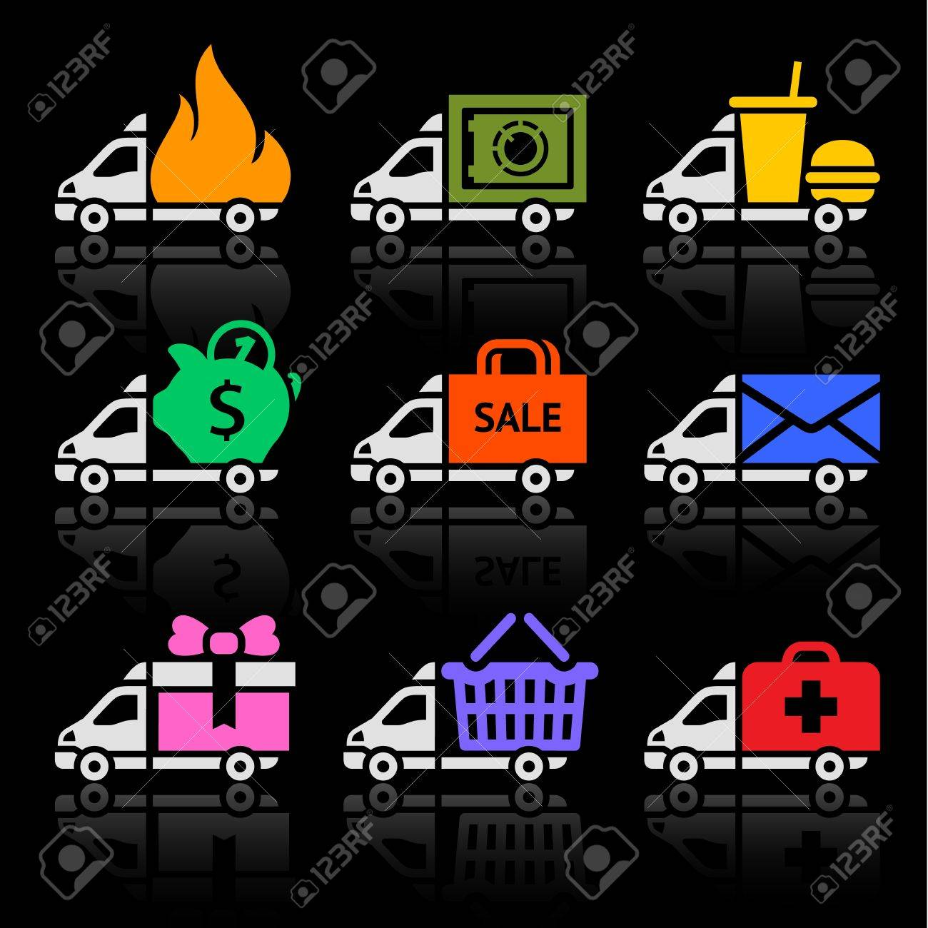 Delivery truck colored icons on a black background Stock Vector - 18847760