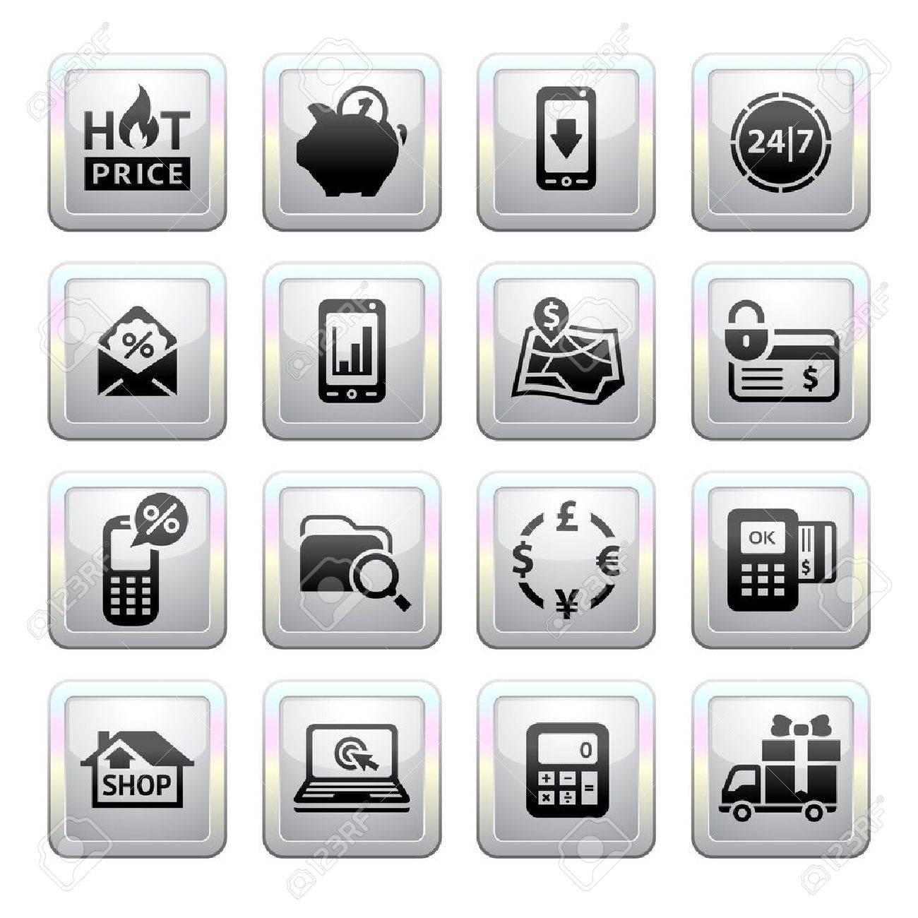 Shopping Icons  Gray  Web 2 0 icons Stock Vector - 19155905