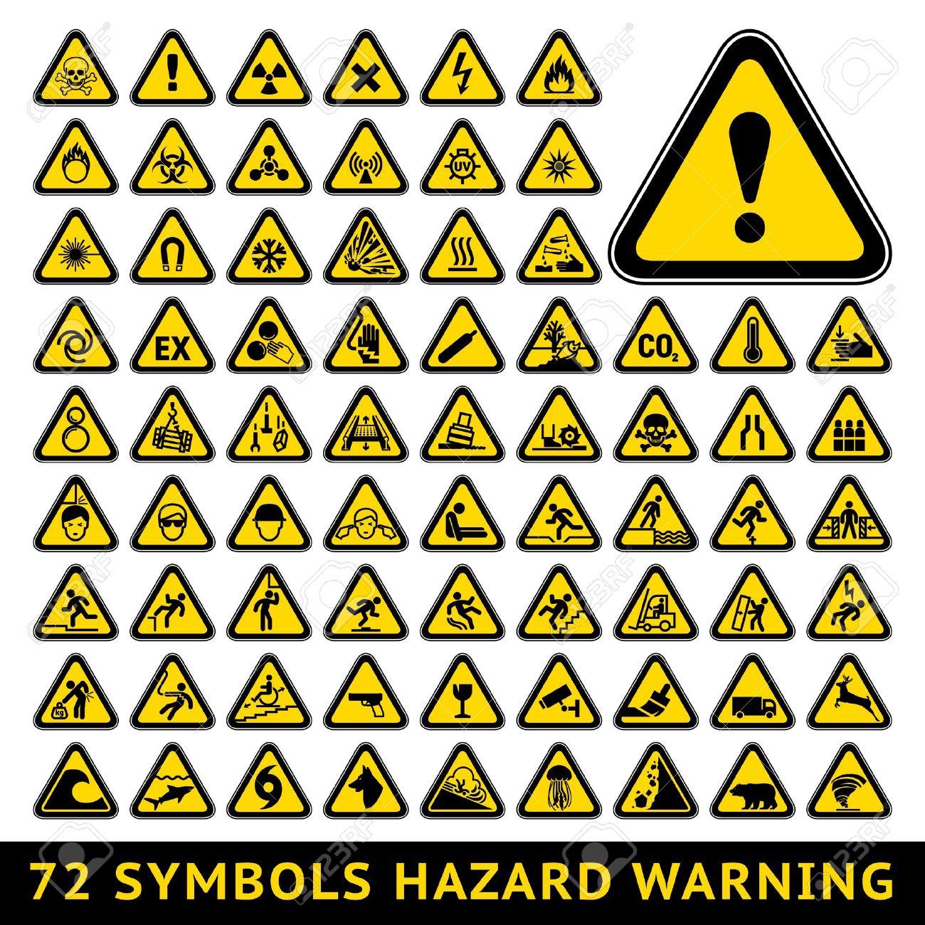 Triangular Warning Hazard Symbols  Big yellow set Stock Vector - 19801557