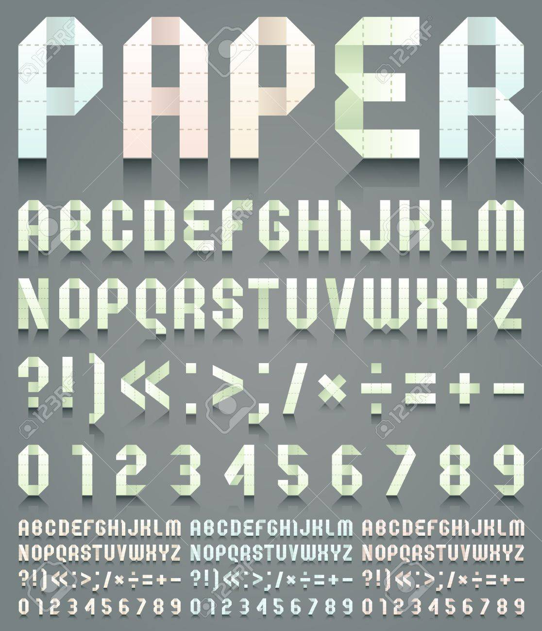 Alphabet folded of perforated paper Stock Vector - 19939917