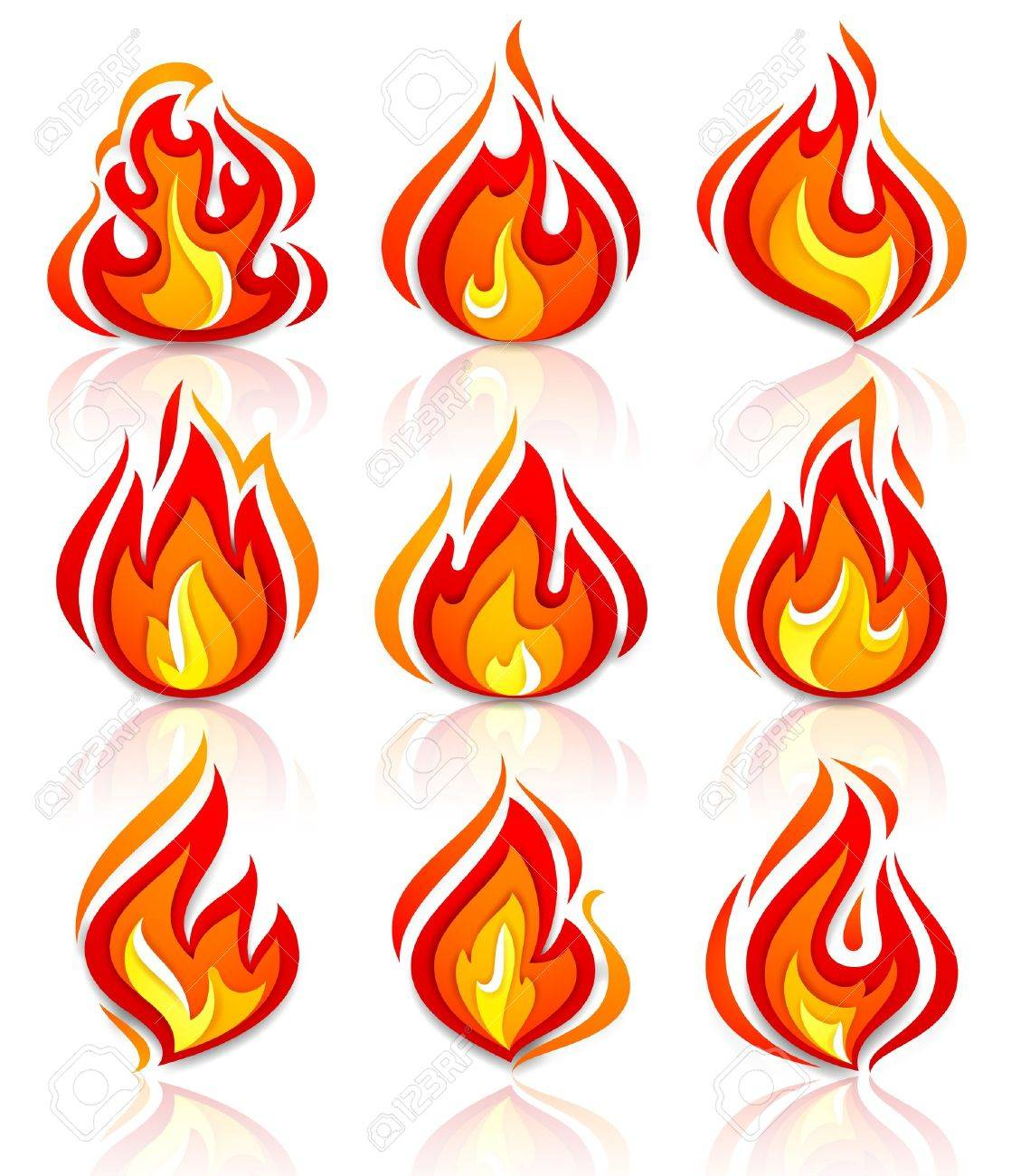 Fire flames new set, with reflection Stock Vector - 19939937