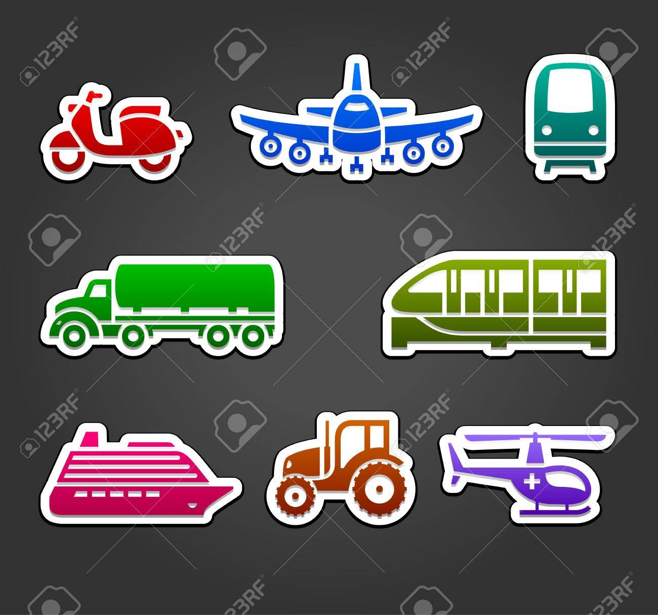 Set of sticky stickers, transport color symbols Stock Vector - 19939874