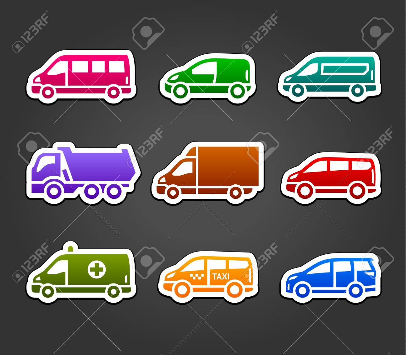 Set of sticky stickers, transport color signs Stock Vector - 19939872