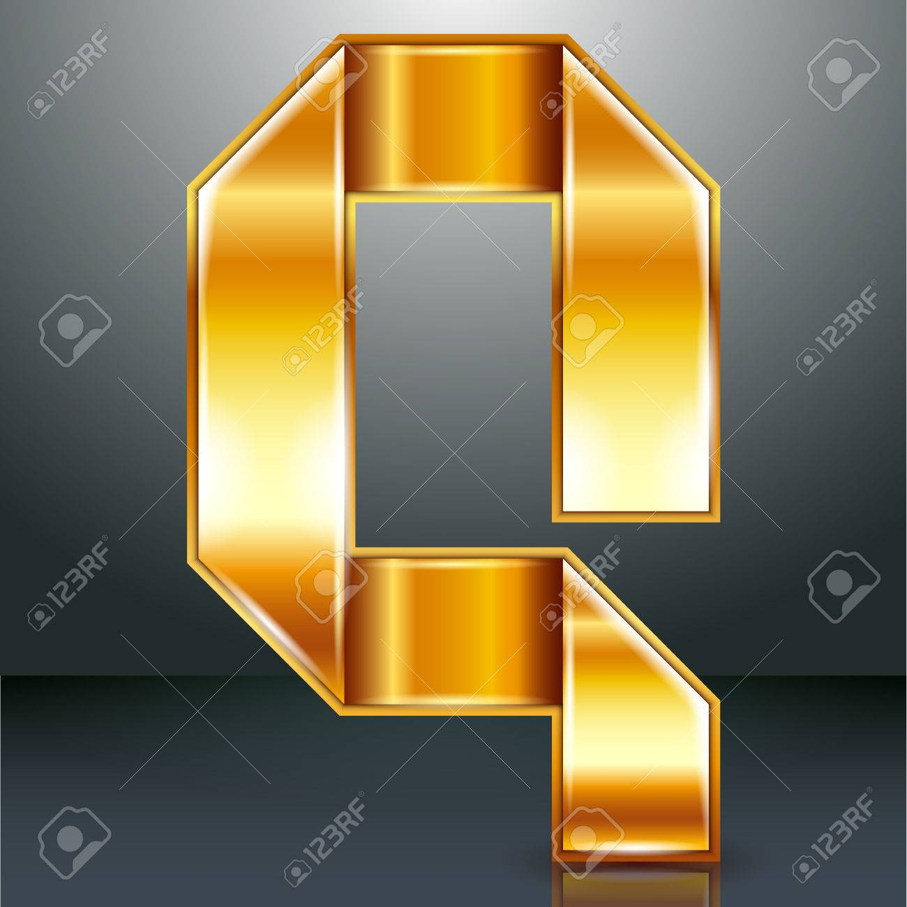 Font folded from a golden metallic ribbon - Letter Q. Vector illustration . Stock Vector - 22735526