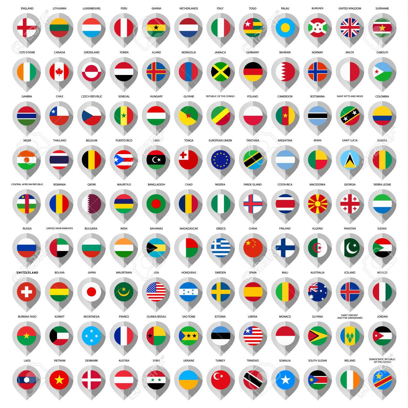 108 Map paper gray marker with flags. Big set Stock Vector - 22772809