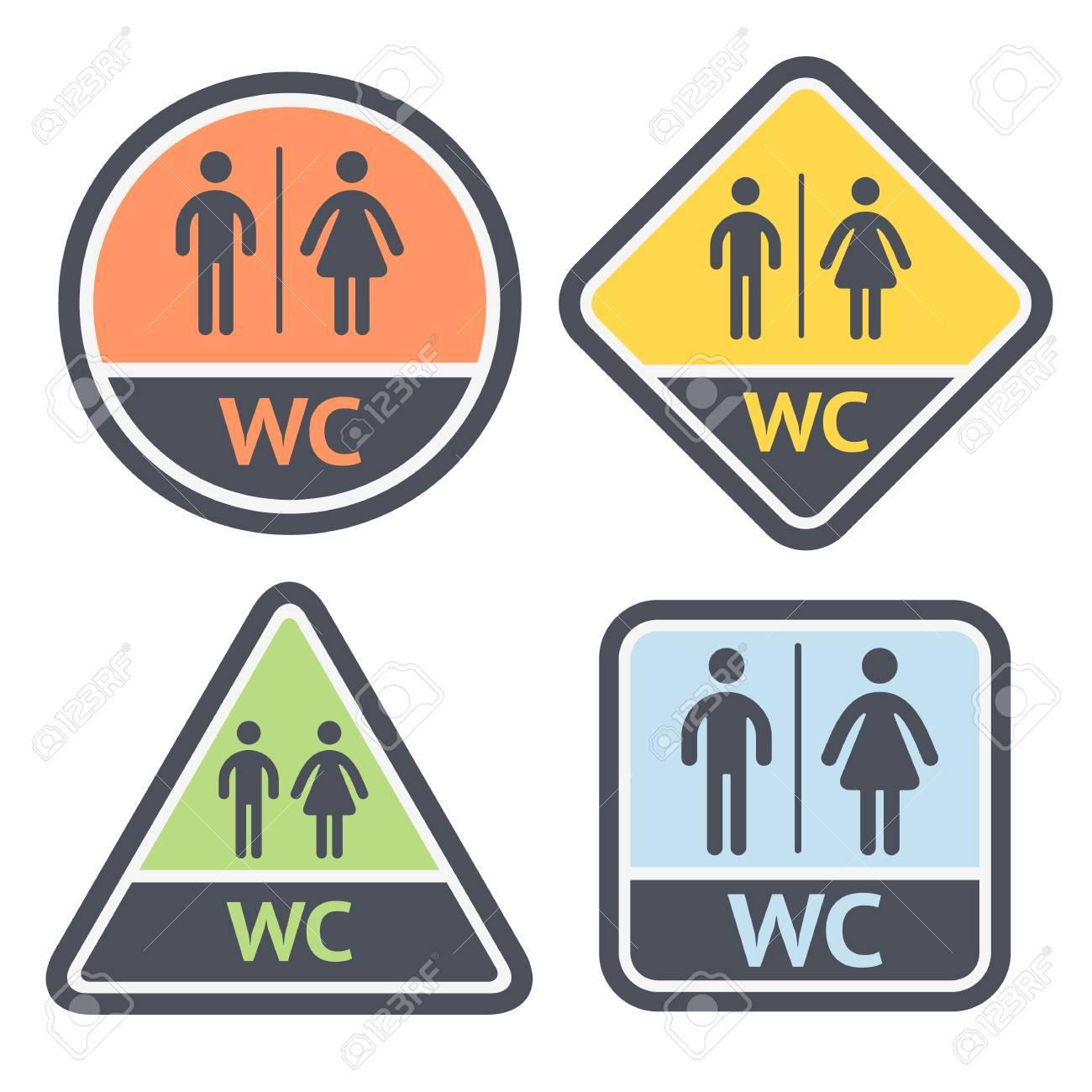 Restroom Symbols Vector Restroom Symbols Set Flat