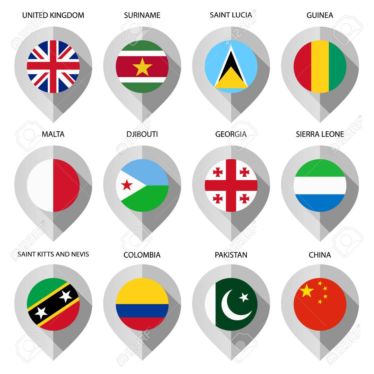 Marker from paper with flag for map - set fourth. Vector illustration Stock Vector - 26135413