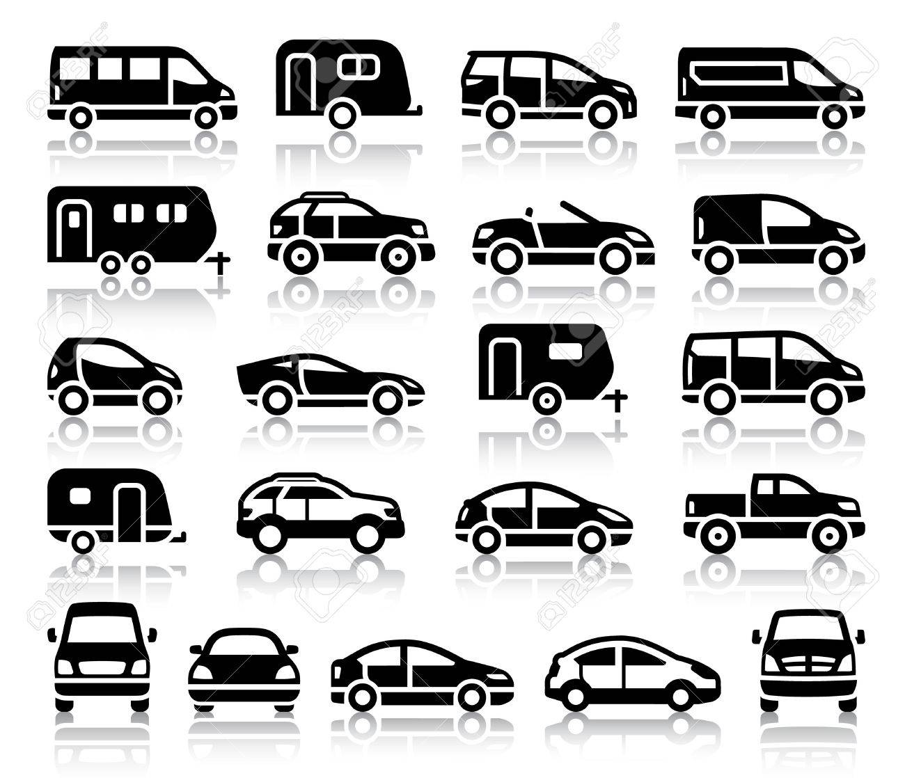 Set Of Transport Black Icons With Reflection Vector Illustrations