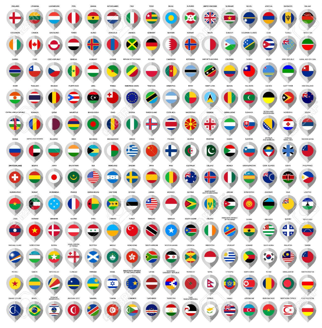 192 Markers from paper with flag for map, vector illustration Stock Vector - 26488457