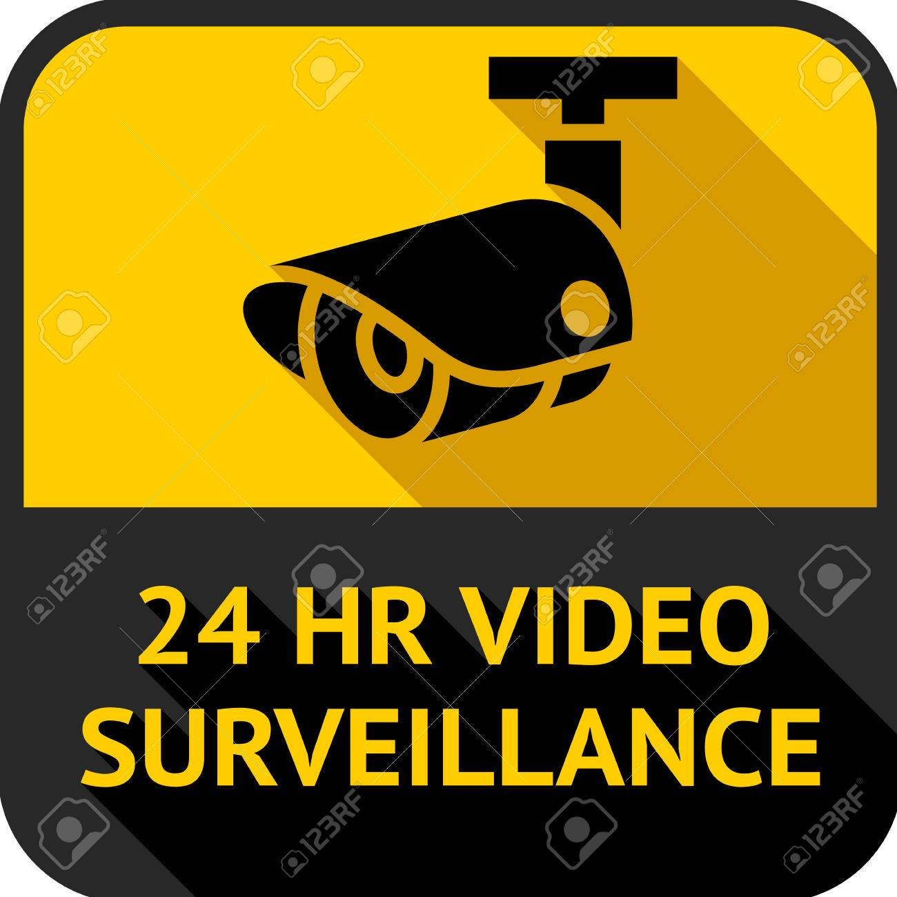 Video surveillance, set square stickers, vector illustration - 33383710