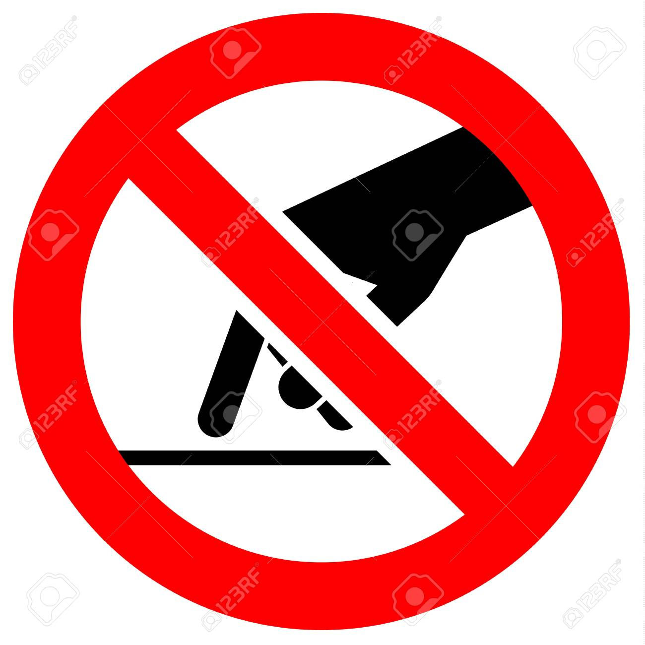 Prohibition sign. Black forbidden symbol in red round shape - 95605093