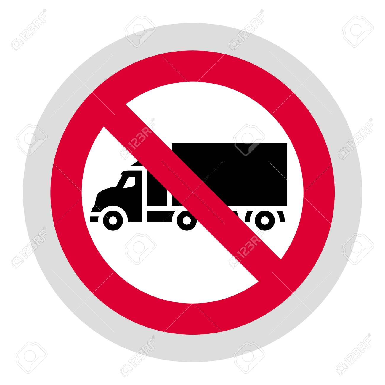 No truck or no parking forbidden sign, modern round sticker, vector illustration for your design - 134068424