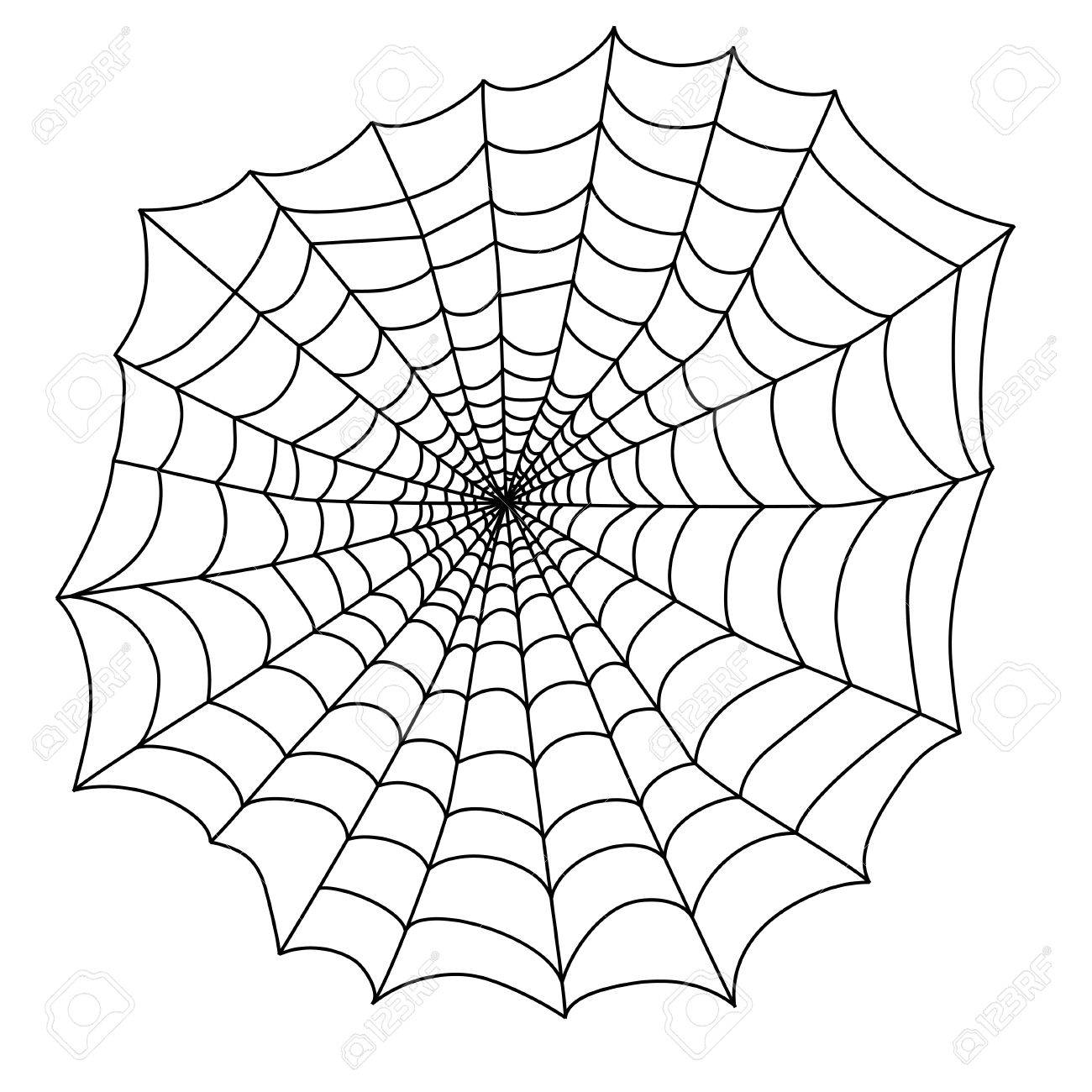 Halloween Vector Black And White.Black Spider Web On An White Background For The Holiday Halloween