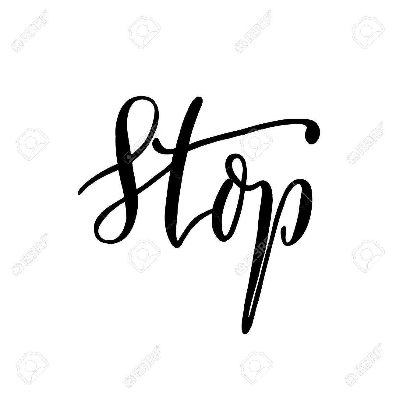 stop hand lettering vector modern calligraphy pen and ink royalty rh 123rf com ink vector ink vector
