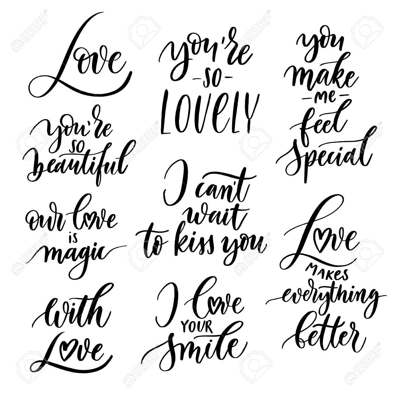 Vector Set Of Hand Lettering With Love Motivational Phrases Stock