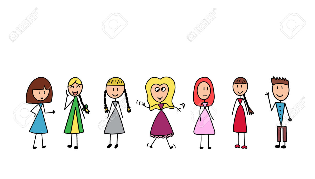 Happy kids cartoon collection. Children in different positions isolated on white background. - 124280587