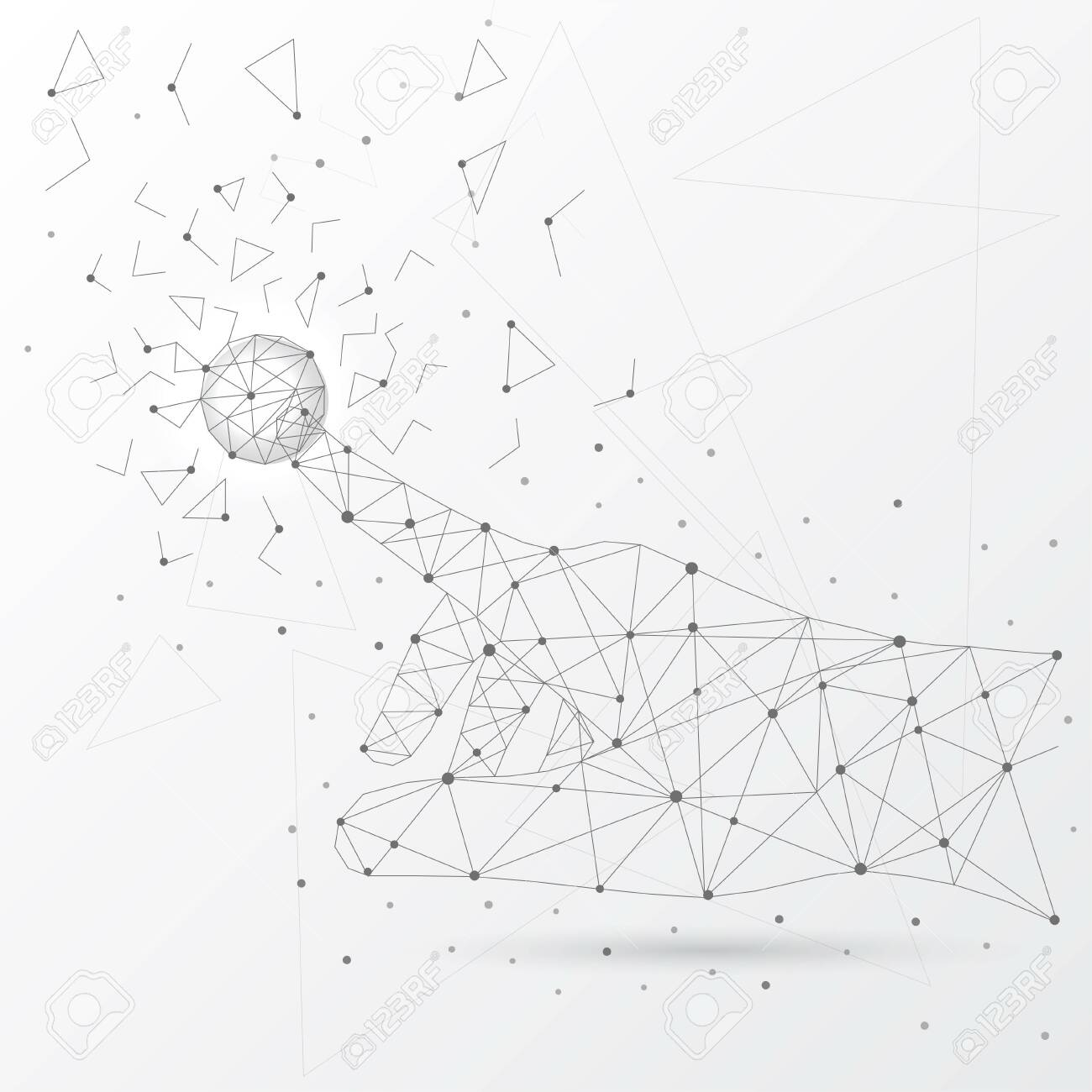 Hand touching global network connection and data from lines, triangles and particle low poly style. - 144473475