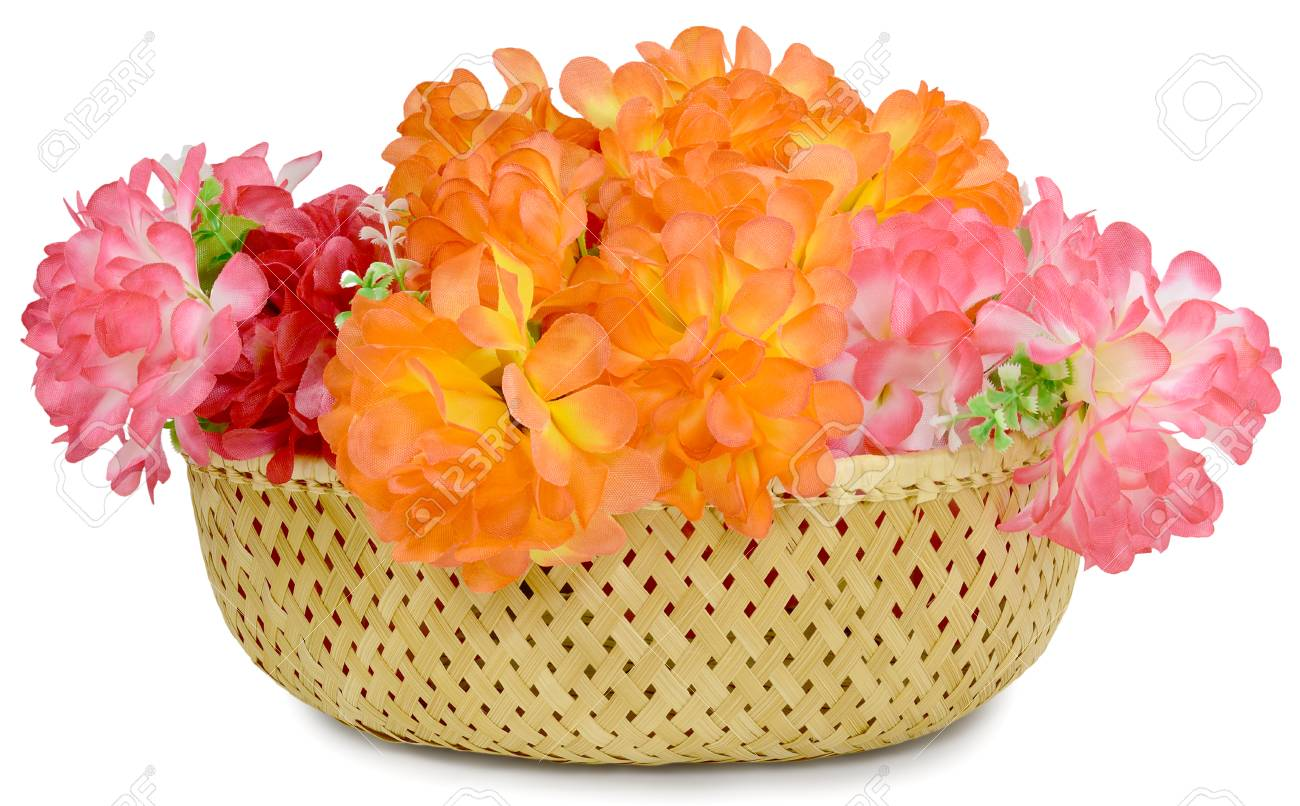 In Basket Beautiful Large Bouquet Of Artificial Flowers Rose.. Stock ...