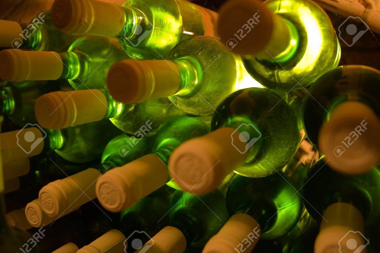stacked bottles of white wine Stock Photo - 2846821