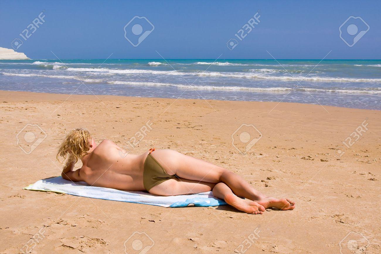Women Sun Tanning