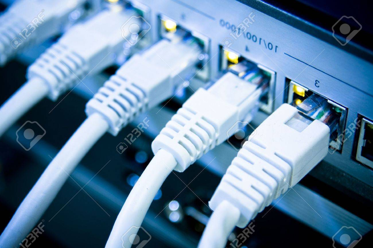 network cables RJ45 connected to a switch Stock Photo - 5491443