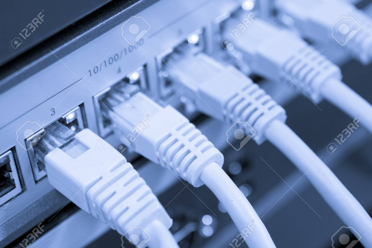 network cables RJ45 connected to a switch Stock Photo - 8552321