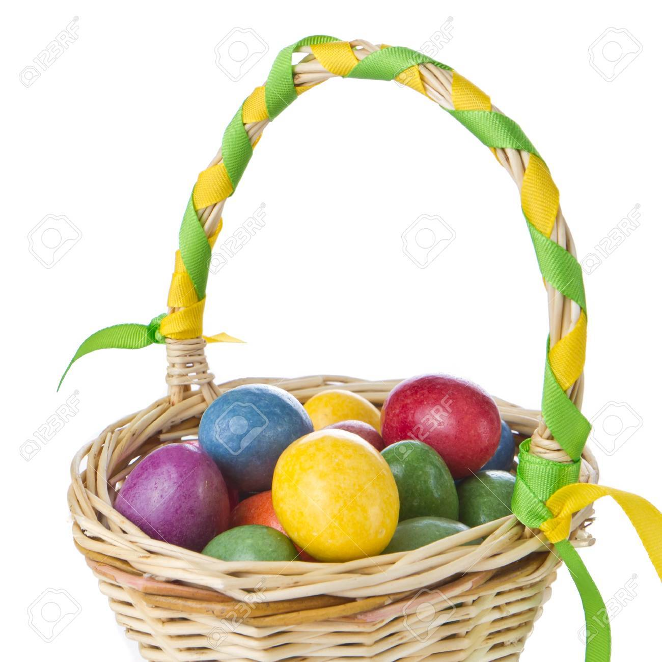colorful easter eggs in basket isolated Stock Photo - 9262772
