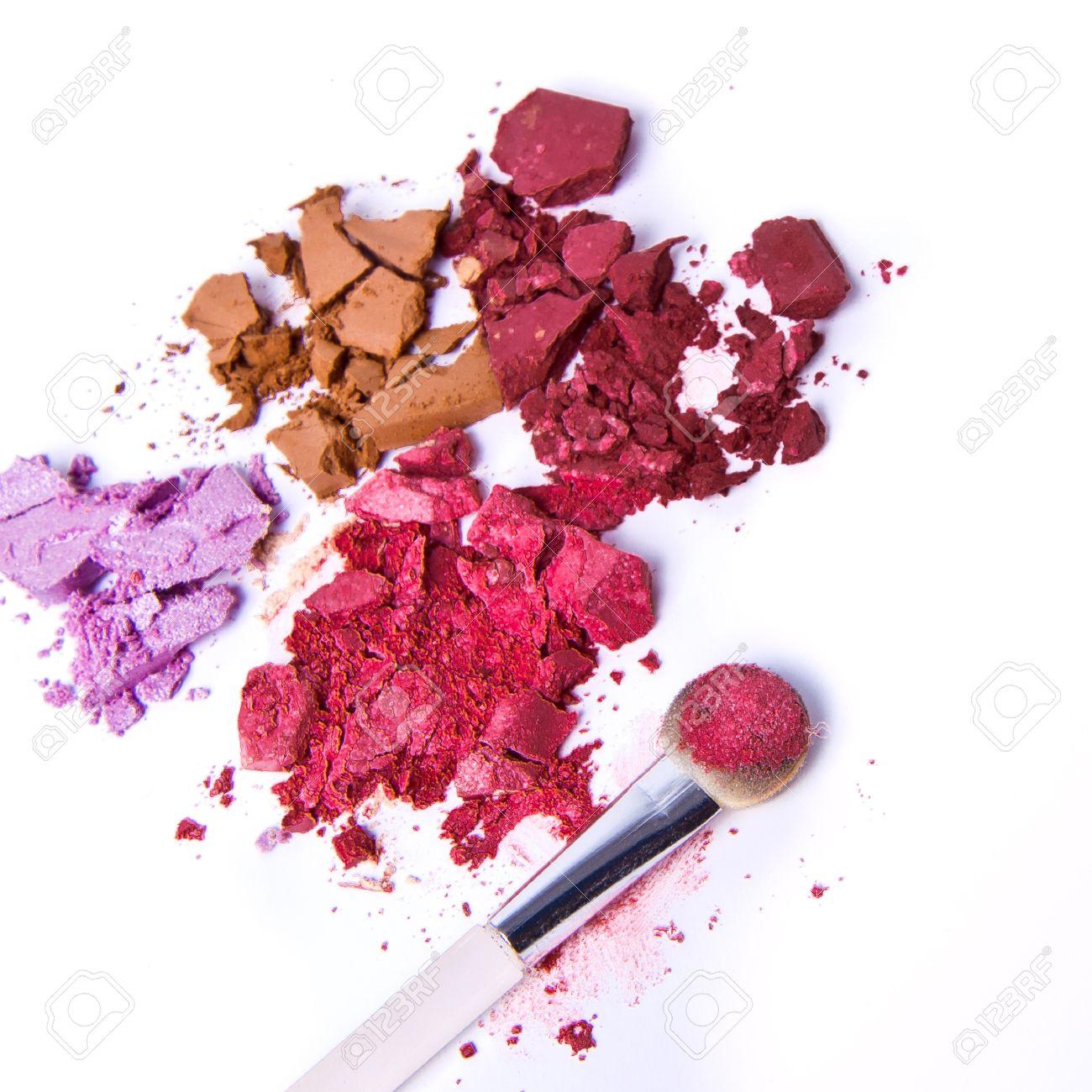 eyeshadow palette with brush on white background Stock Photo - 9298465