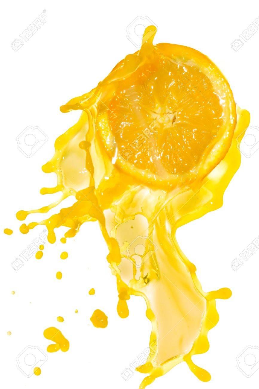 orange juice splash isolated on white background Stock Photo - 9651705