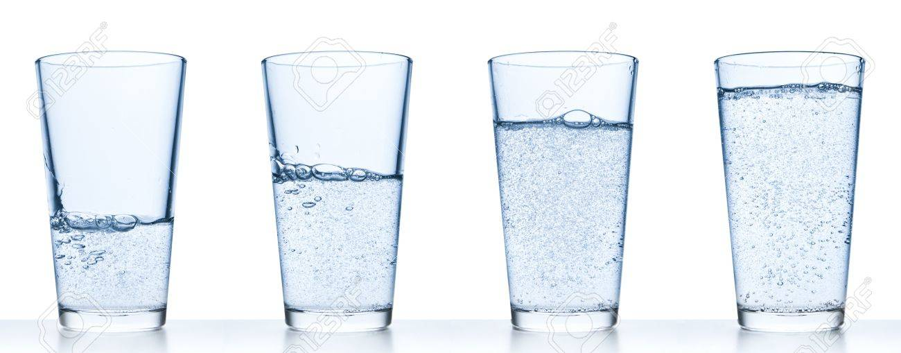 3517bbb5d99 set of glasses filled with water on white background Stock Photo - 11900736