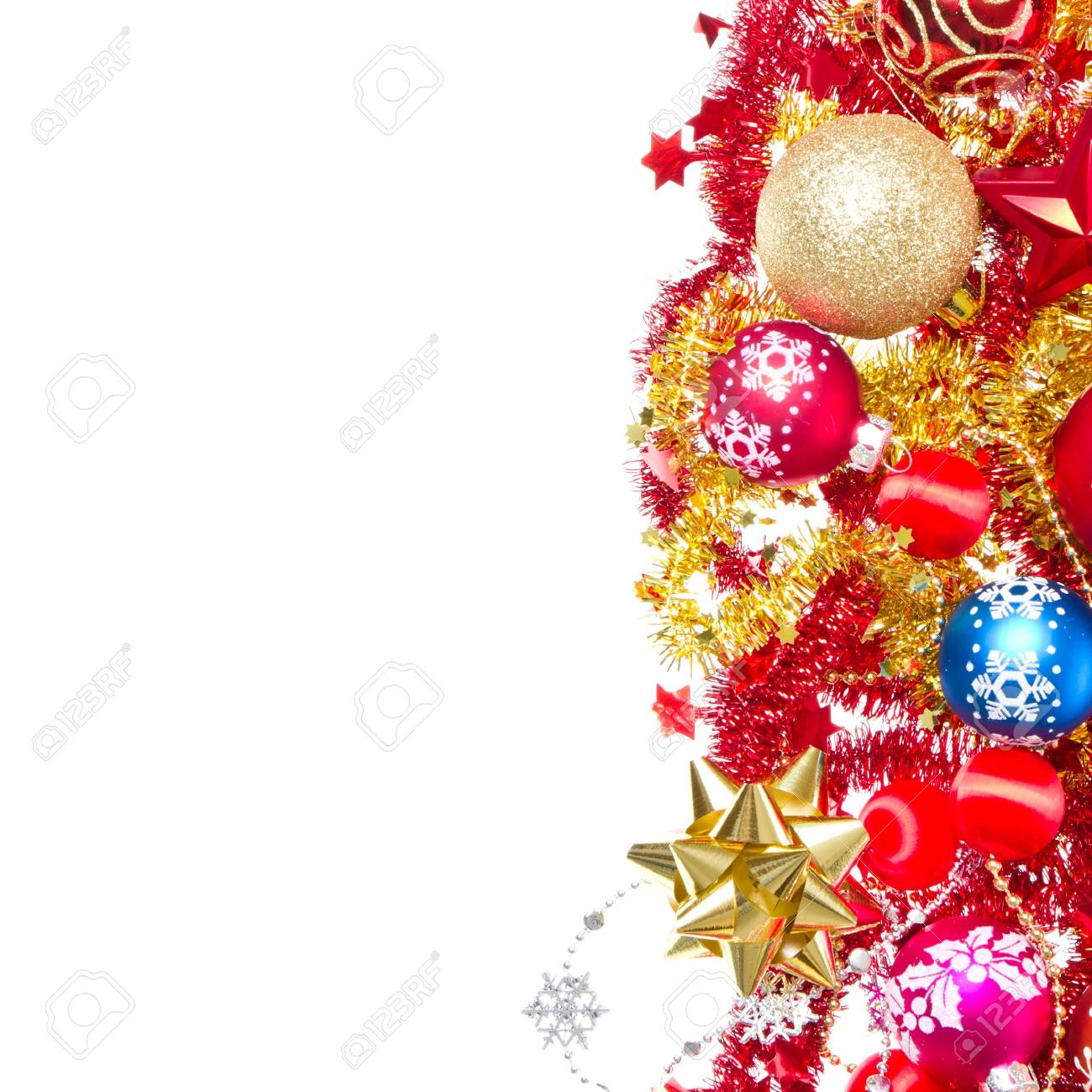 background made of christmas balls and tinsel Stock Photo - 12306674