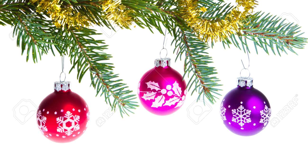decorated christmas branch isolated on white background Stock Photo - 12809212