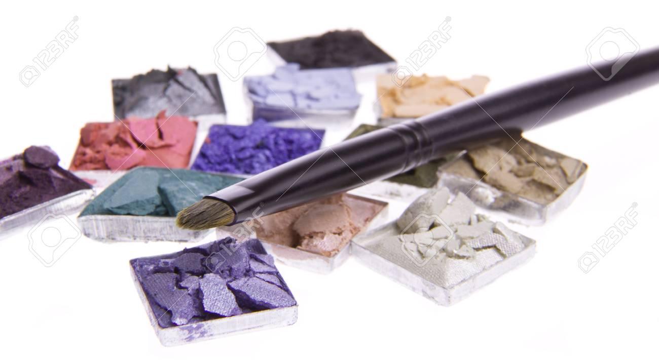 multicolored crushed eyeshadows with brush isolated on white background Stock Photo - 13097909
