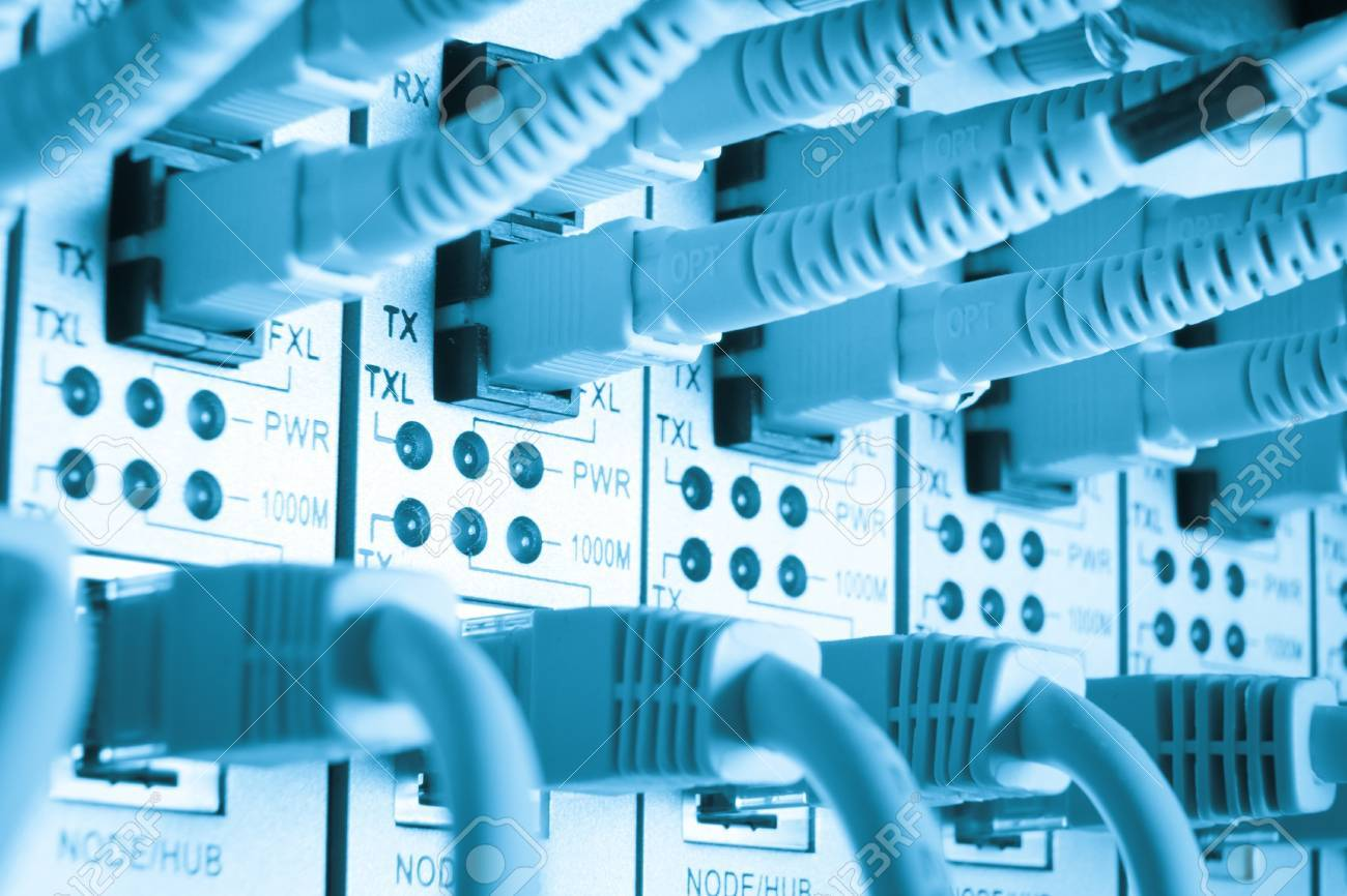 close up of network cables connected to switch Stock Photo - 13098084