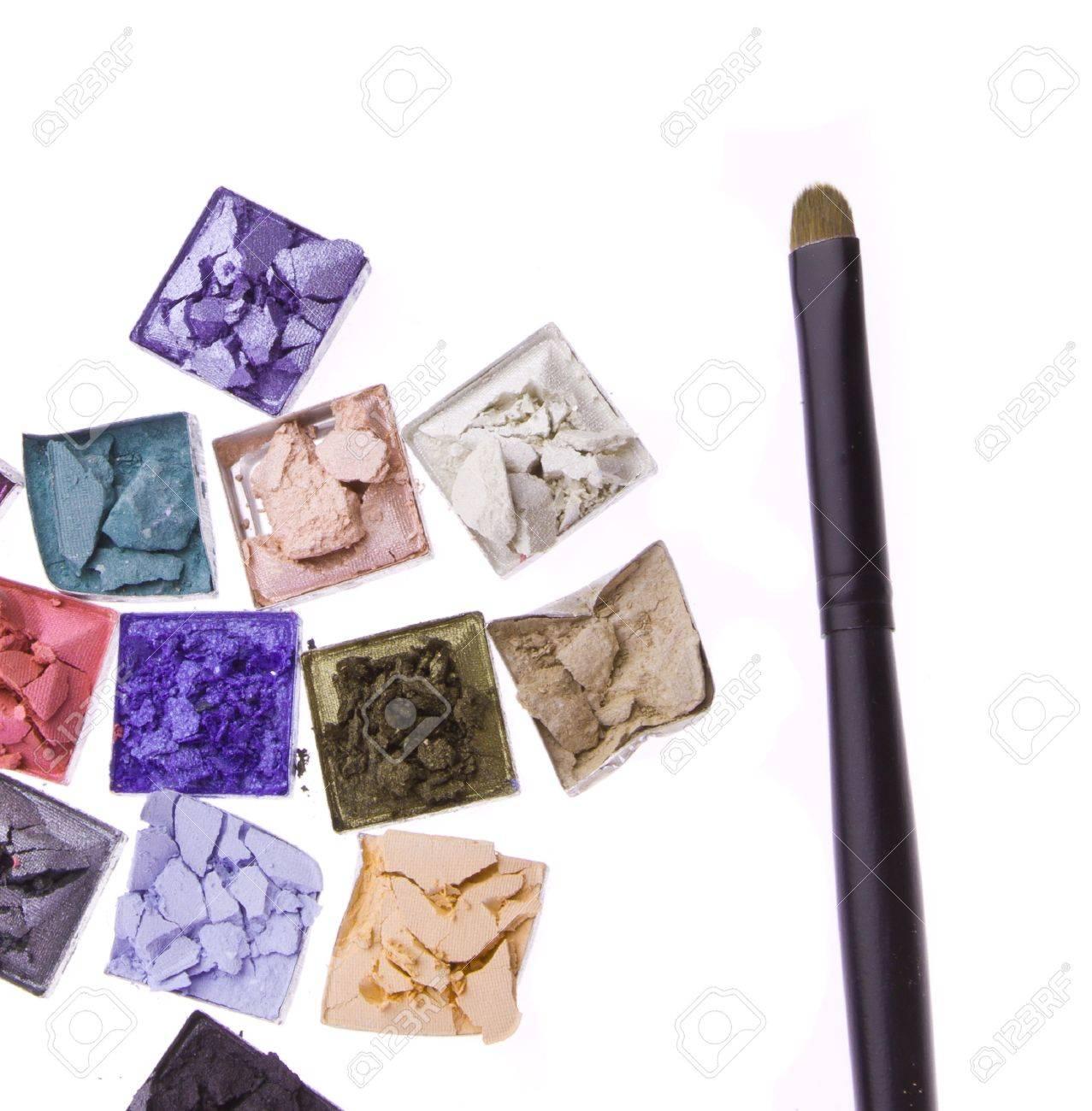 multicolored crushed eyeshadows with brush isolated on white background Stock Photo - 13139984