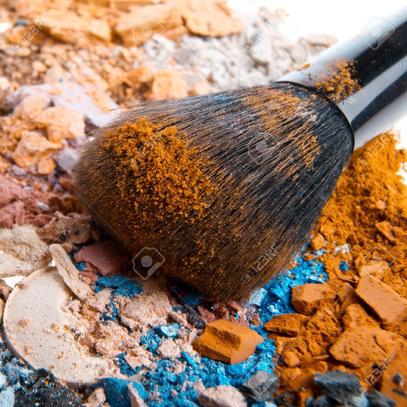 set of multicolor crushed eyeshadows with brush Stock Photo - 13275034