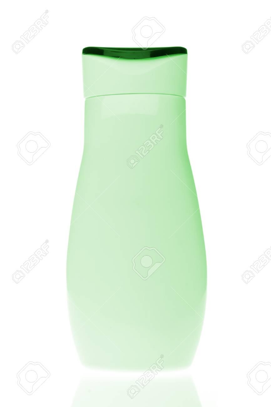 Immagini Stock Verde Bottiglia Cosmetica Isolato Su Sfondo Bianco