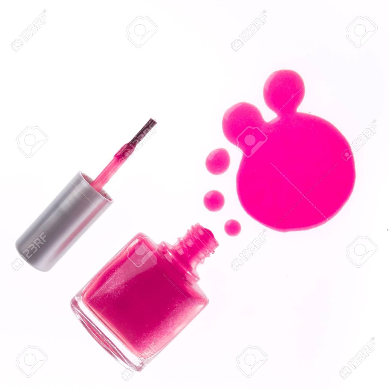 spilled pink nail polish isolated on white background Stock Photo - 13646613