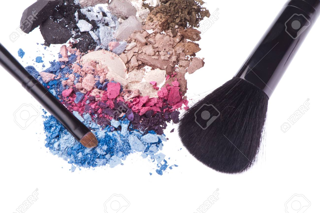 set of multicolor crushed eyeshadows isolated on white background Stock Photo - 14400600