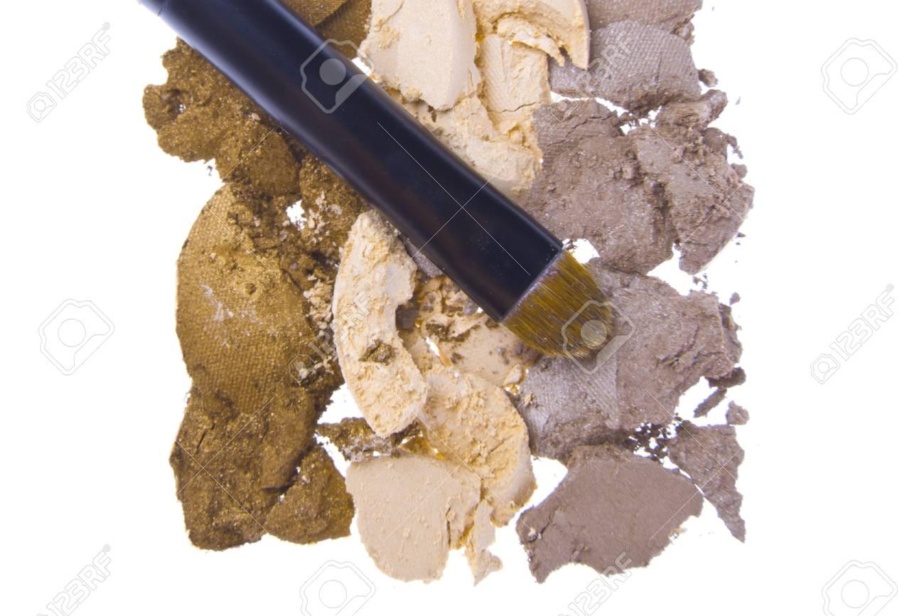 cream eyeshadows  isolated on white background Stock Photo - 15595906