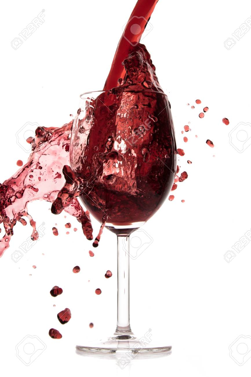 pouring red wine in goblet, isolated on white Stock Photo - 17676974