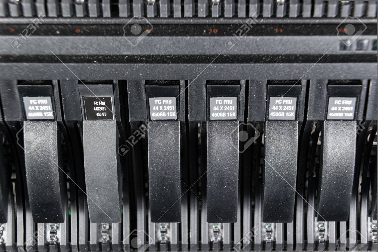 close-up of hard drives in data center Stock Photo - 22132187