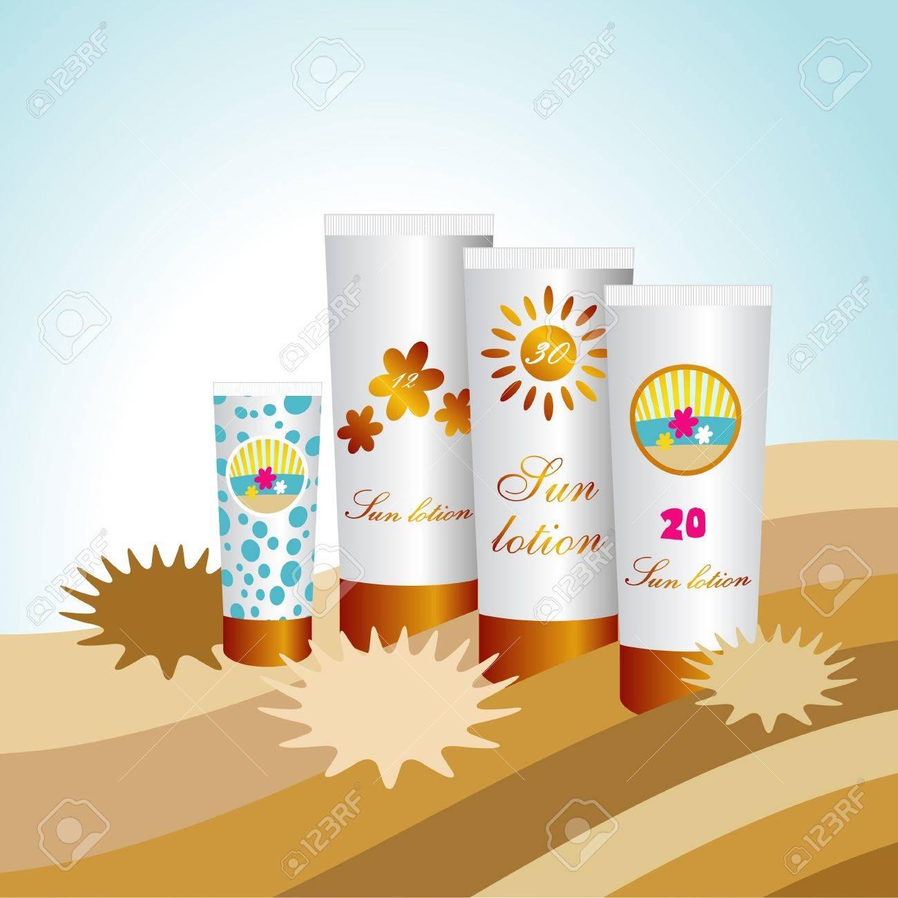 Sunblock lotions. Sun protection skin creams. Stock Vector - 20193811