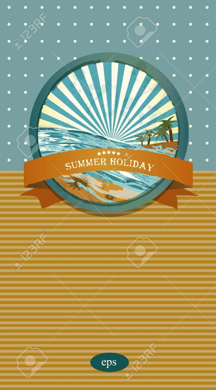 Summer retro background. Vintage seaside view illustration. Stock Vector - 20193927