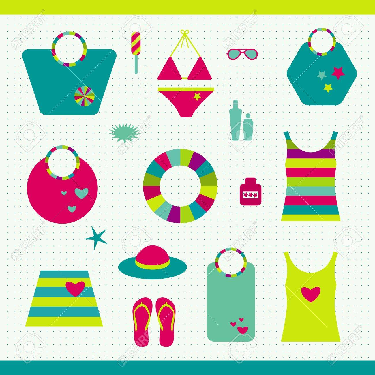 Summer beach set  Collection of bags, T shirts, sun lotion Stock Vector - 20331377