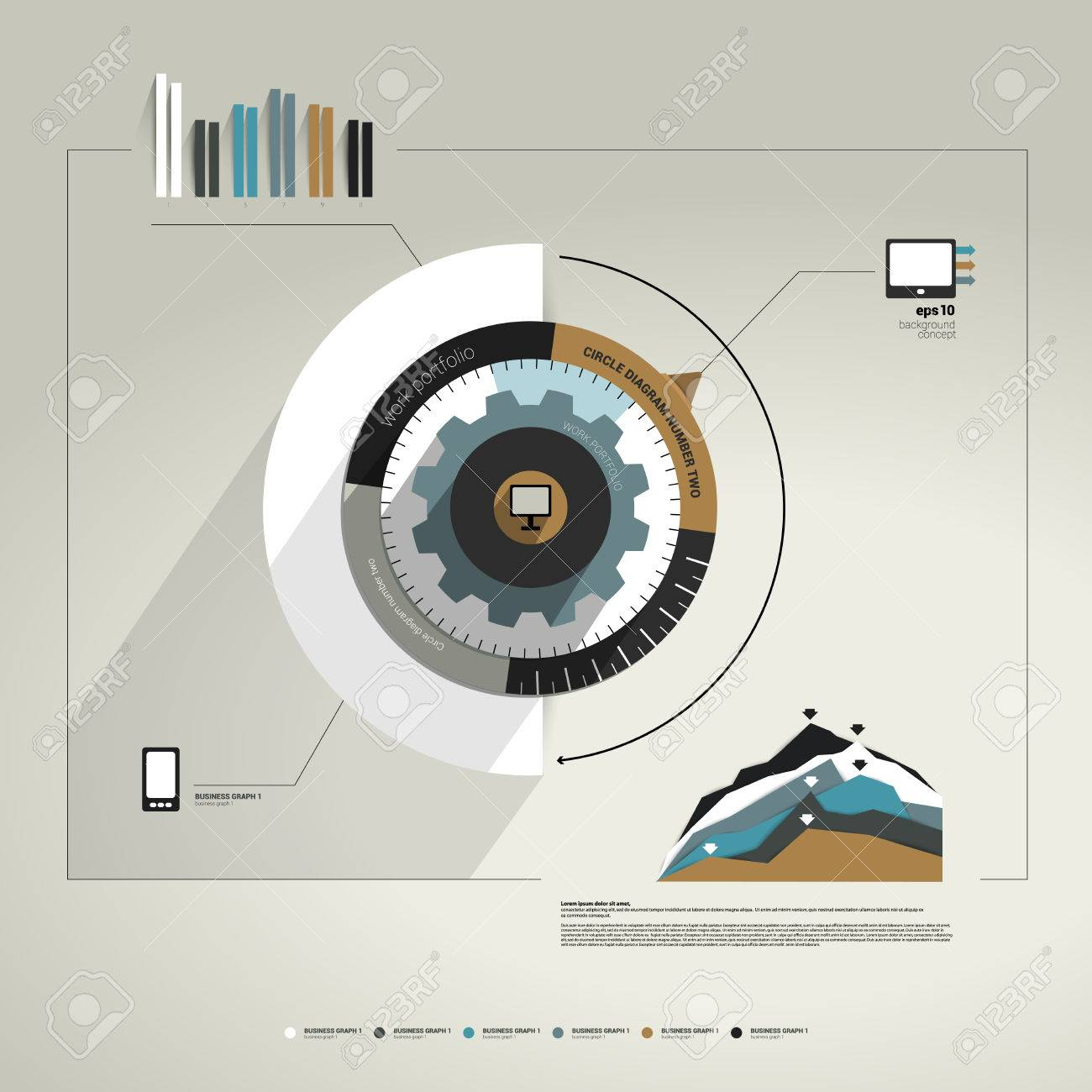 exclusive circle flat info graphic diagram business cog wheel    vector   exclusive circle flat info graphic diagram business cog wheel template concept for brochure