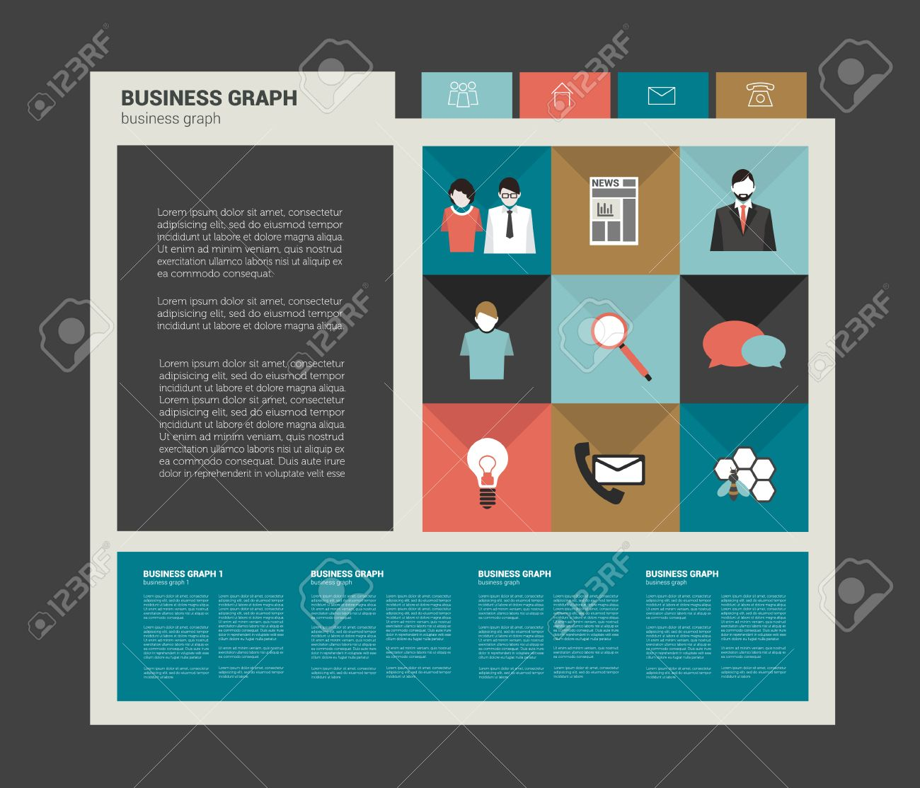 vector web flat simply template banner modern icon collection sample blog design