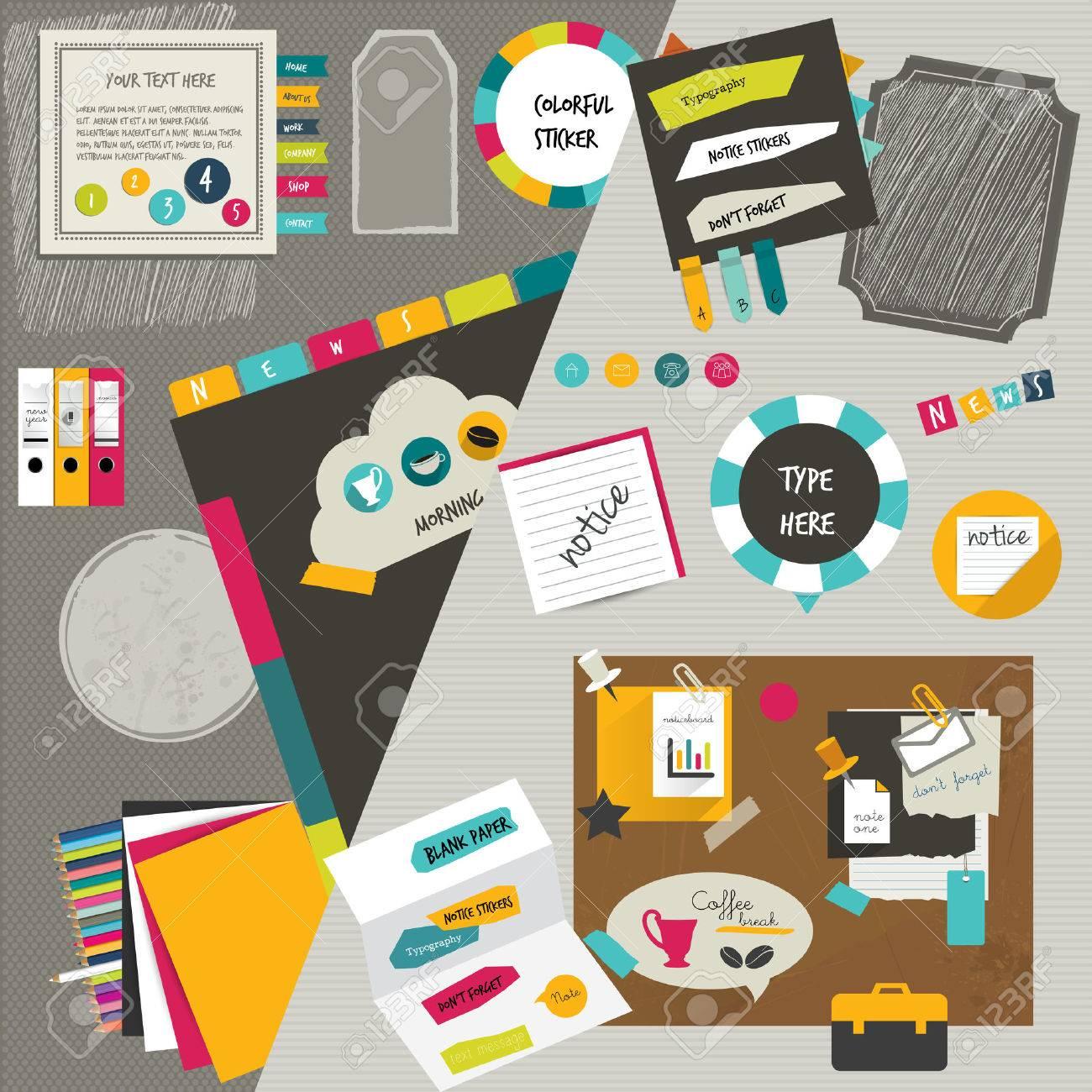 Diseño Web De La Oficina De Trabajo De Carpetas De Colores Plantilla ...