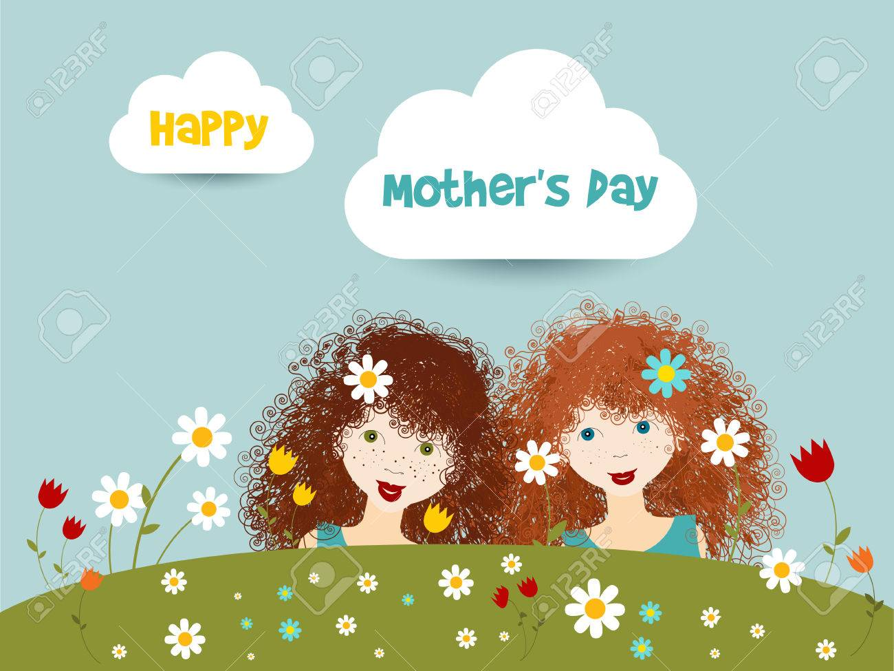 happy mothers day concept two cute curly red hair little sister